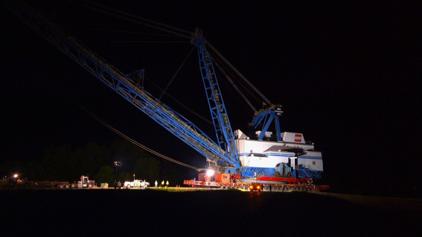 Dolet Night photo of dragline crossing I-49